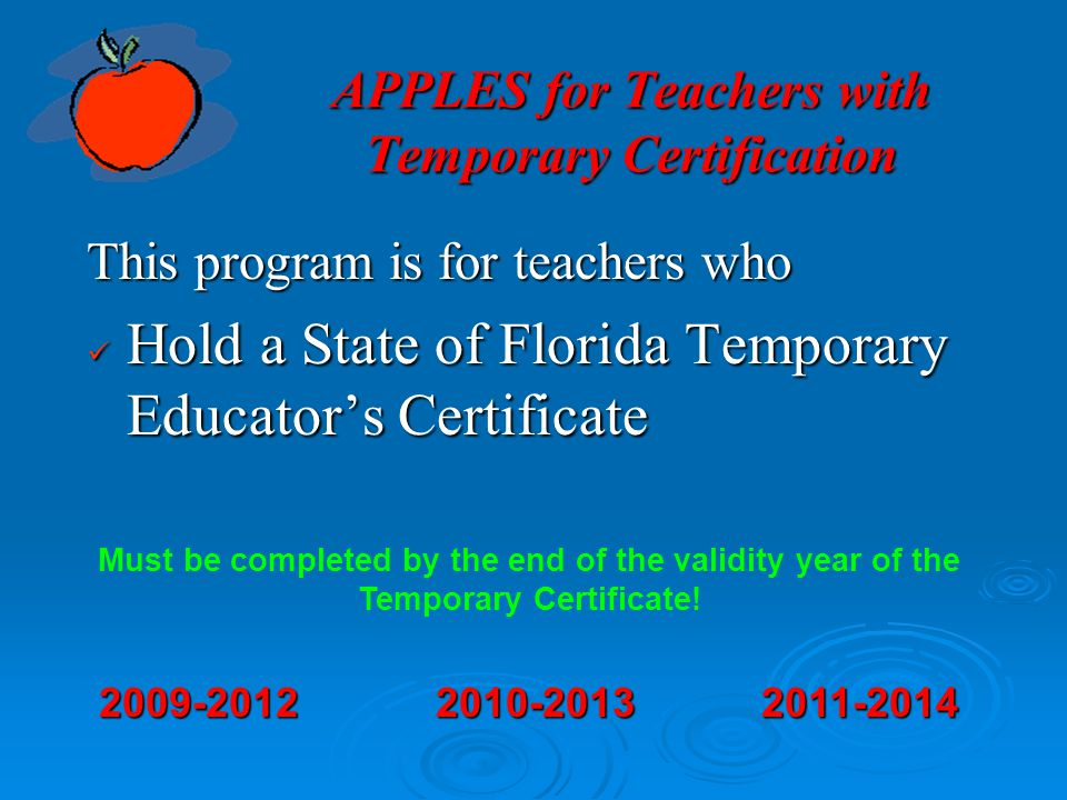 APPLES for Teachers with Temporary Certification