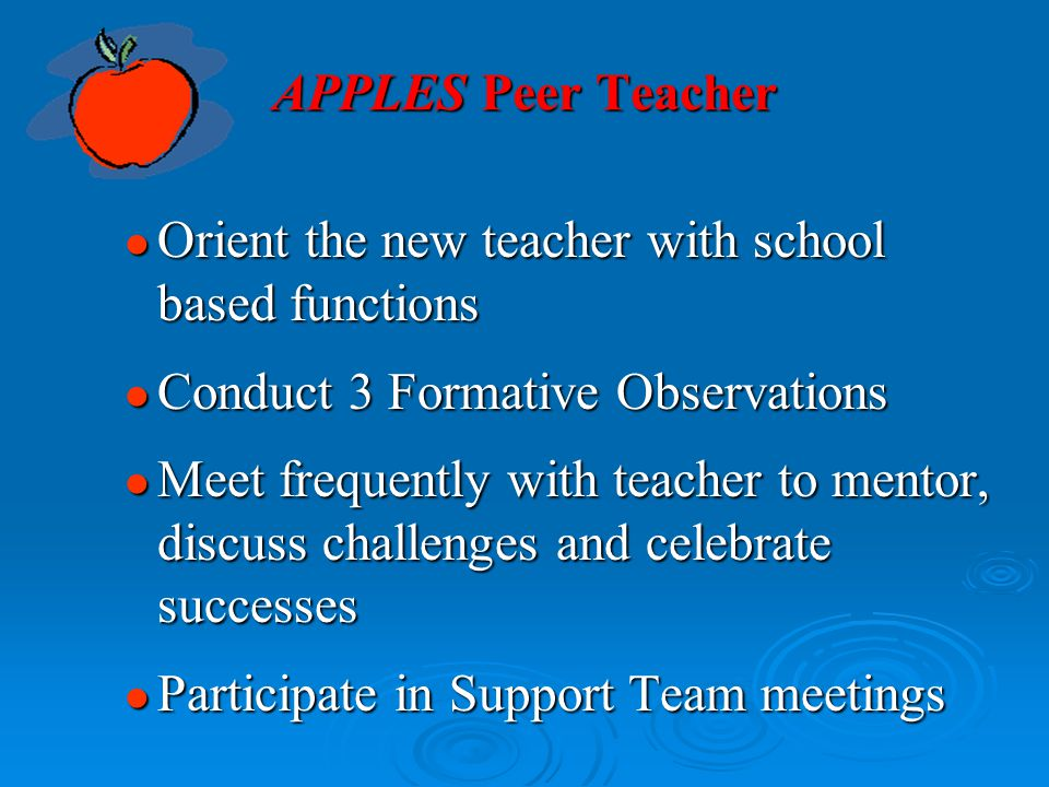 APPLES Peer Teacher Orient the new teacher with school based functions. Conduct 3 Formative Observations.