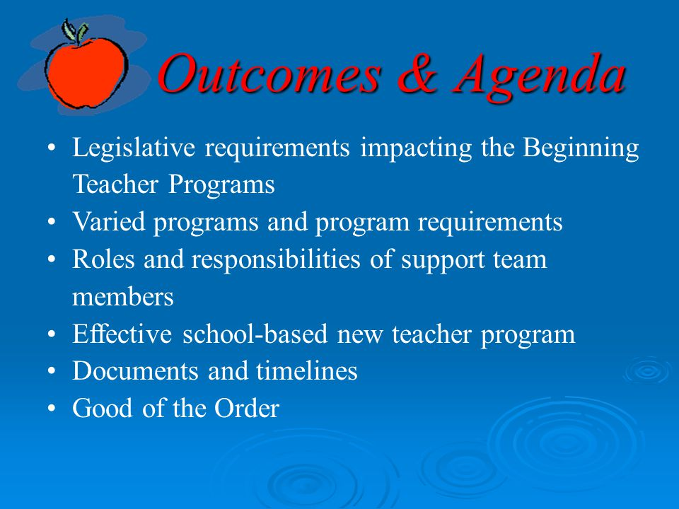 Outcomes & Agenda Legislative requirements impacting the Beginning Teacher Programs. Varied programs and program requirements.