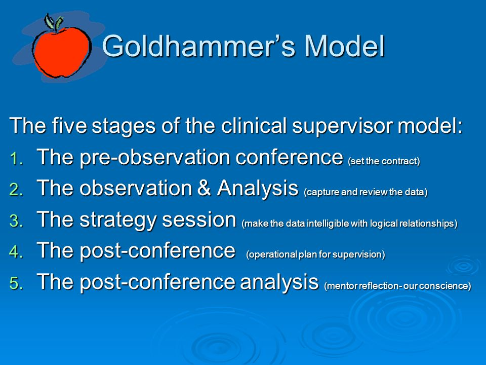 Goldhammer's Model The five stages of the clinical supervisor model: