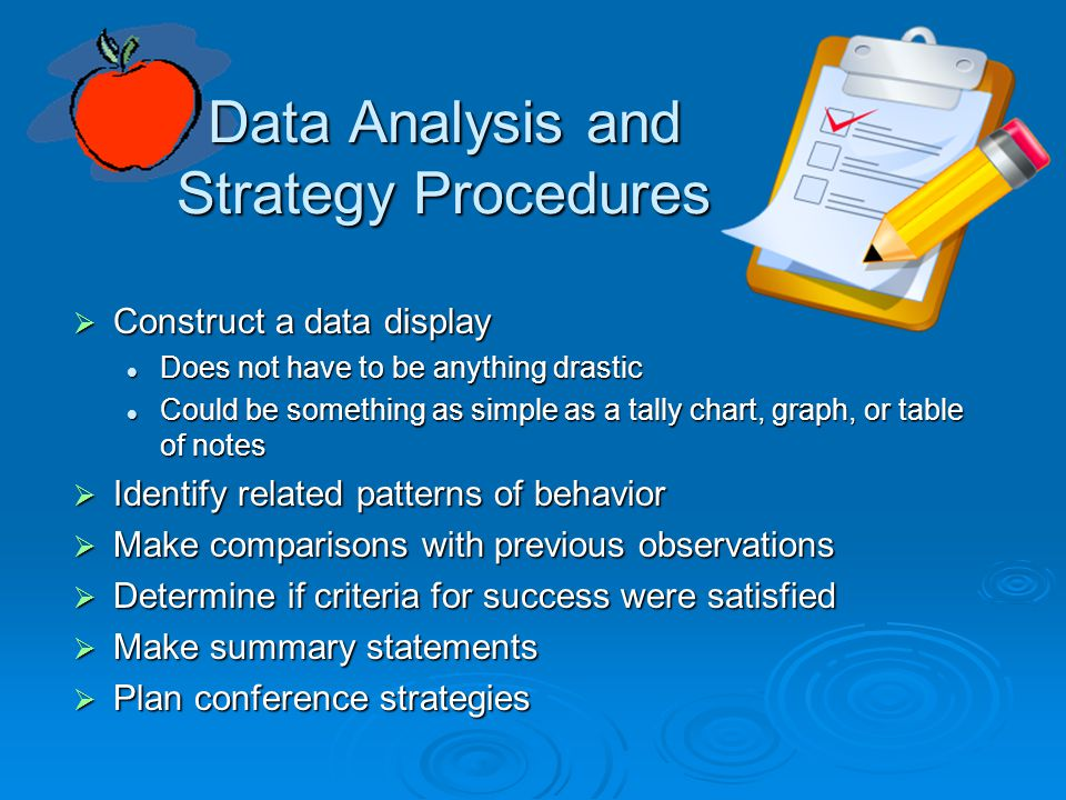 Data Analysis and Strategy Procedures
