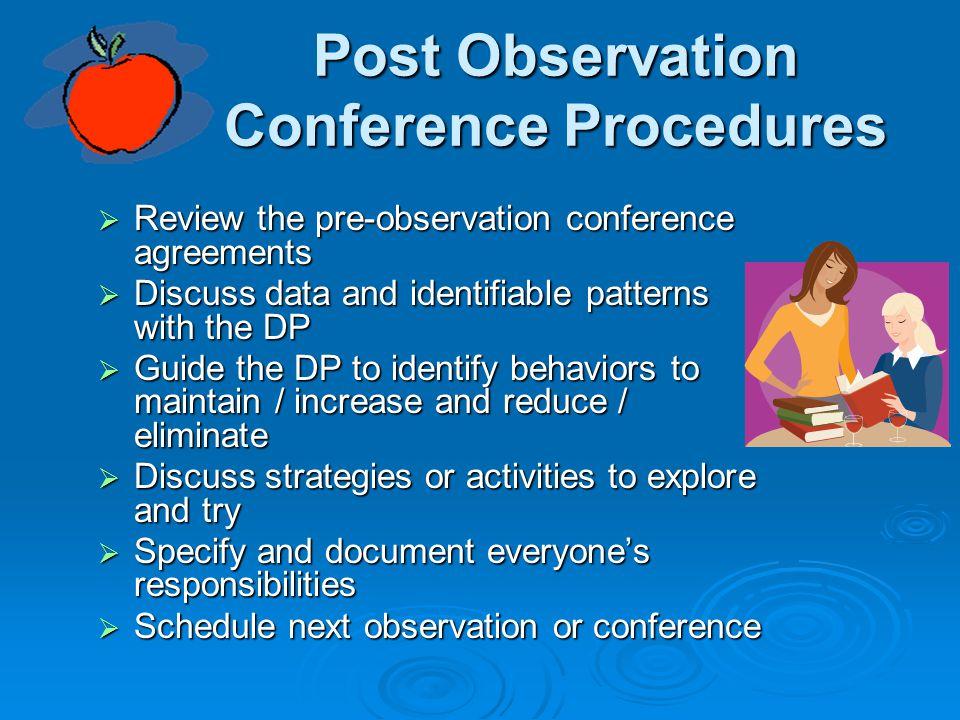 Post Observation Conference Procedures
