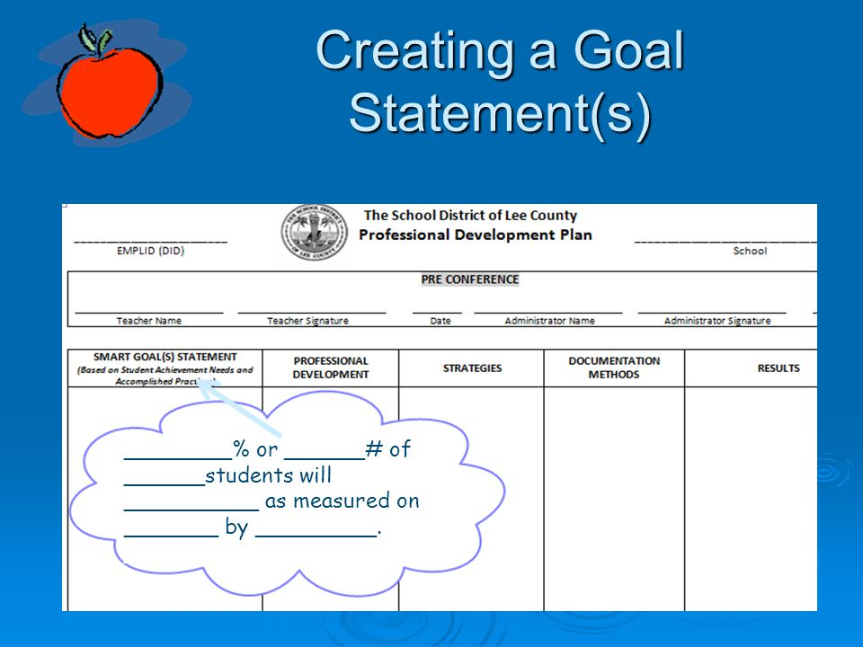 Creating a Goal Statement(s)