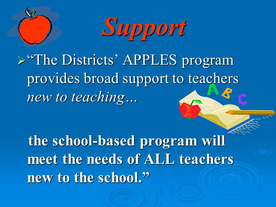 Support The Districts' APPLES program provides broad support to teachers new to teaching…