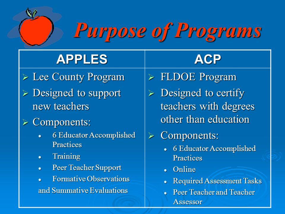 Purpose of Programs APPLES ACP Lee County Program