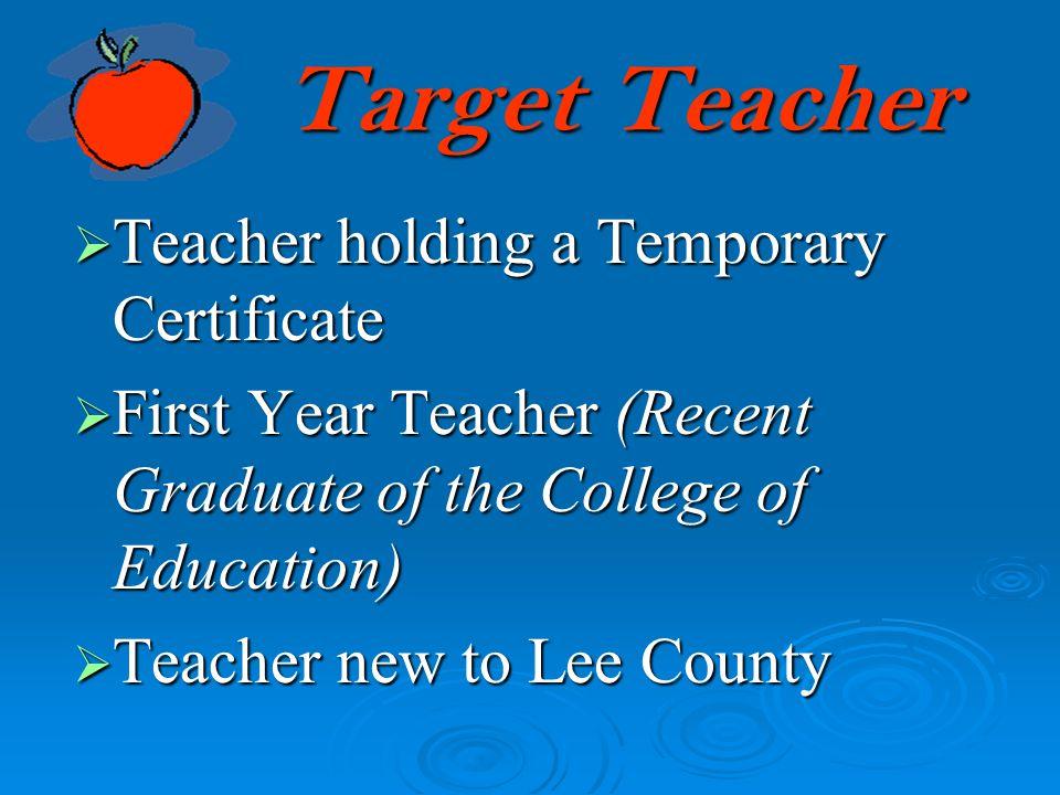 Target Teacher Teacher holding a Temporary Certificate