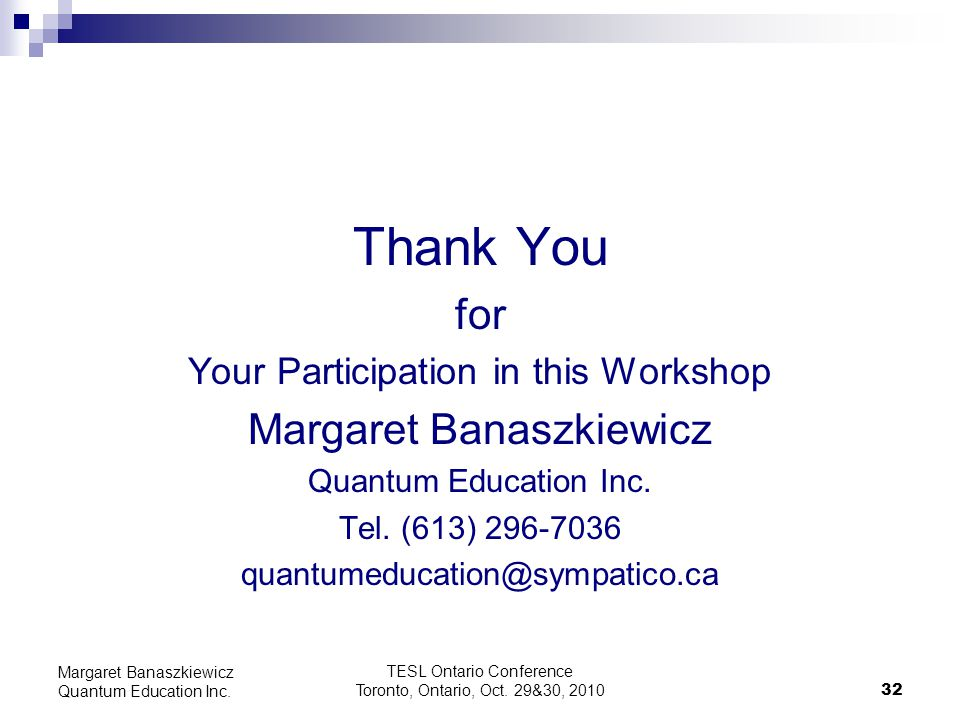 Thank You for Margaret Banaszkiewicz