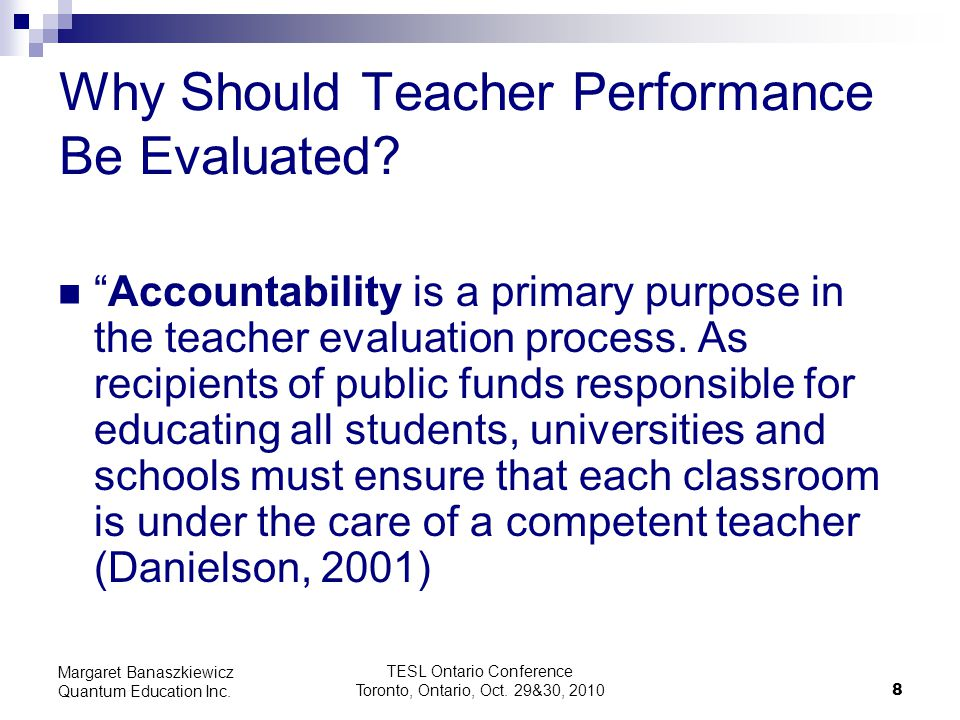 Why Should Teacher Performance Be Evaluated