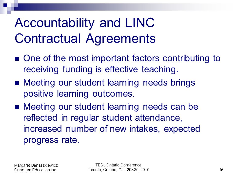 Accountability and LINC Contractual Agreements