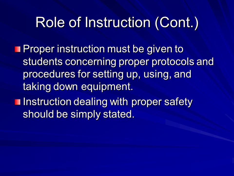 Role of Instruction (Cont.)