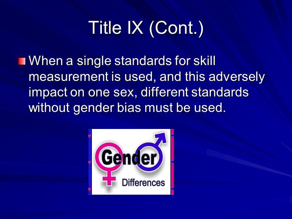 Title IX (Cont.)
