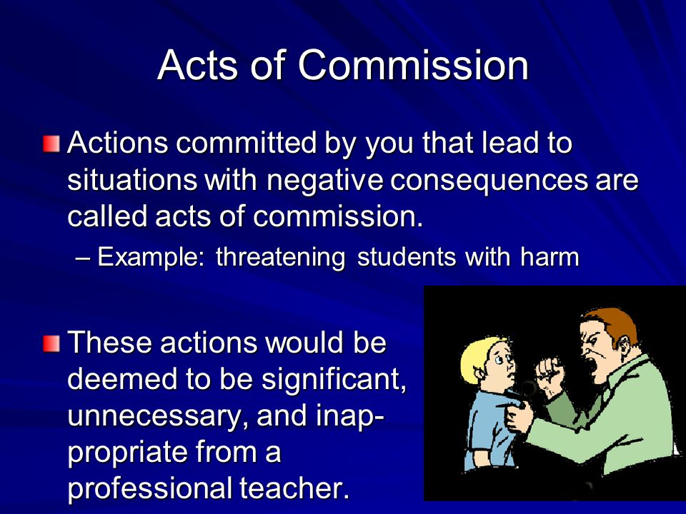 Acts of Commission Actions committed by you that lead to situations with negative consequences are called acts of commission.