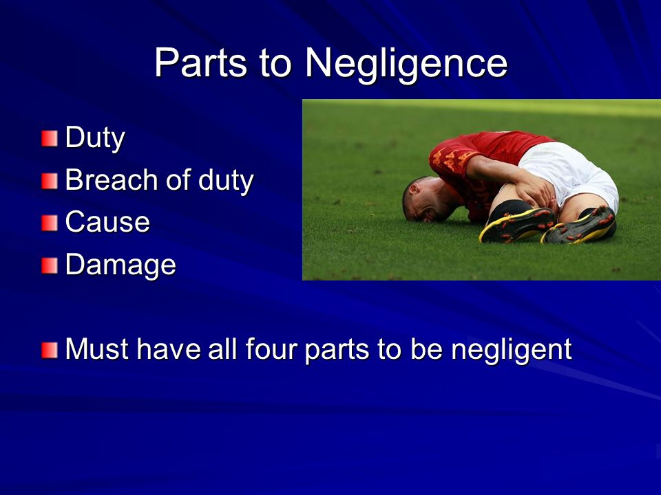 Parts to Negligence Duty Breach of duty Cause Damage
