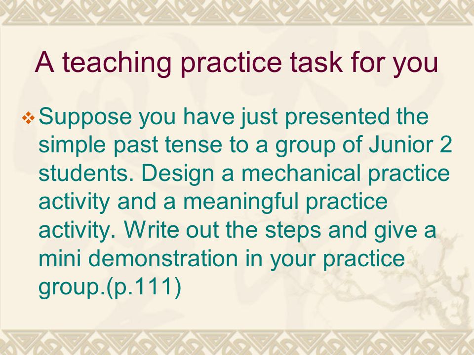 A teaching practice task for you