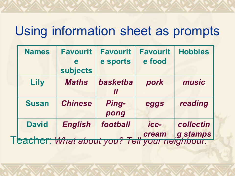 Using information sheet as prompts