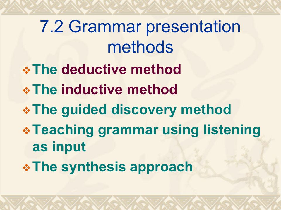 7.2 Grammar presentation methods