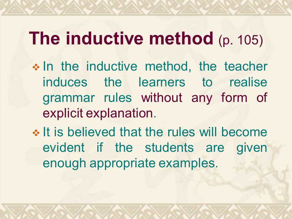 The inductive method (p. 105)