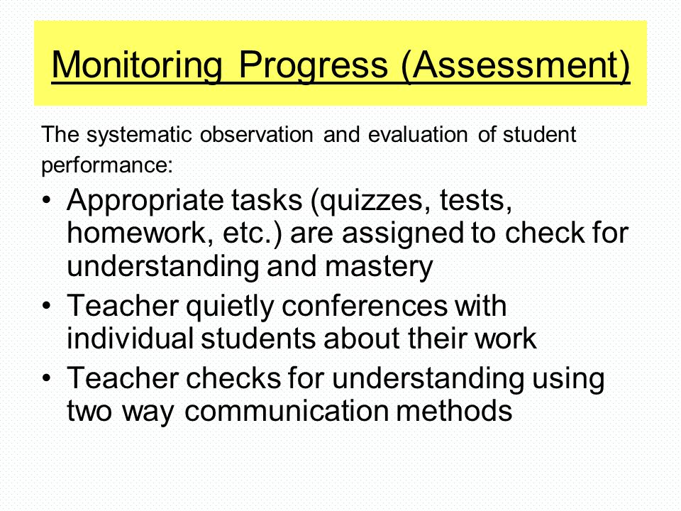 Monitoring Progress (Assessment)