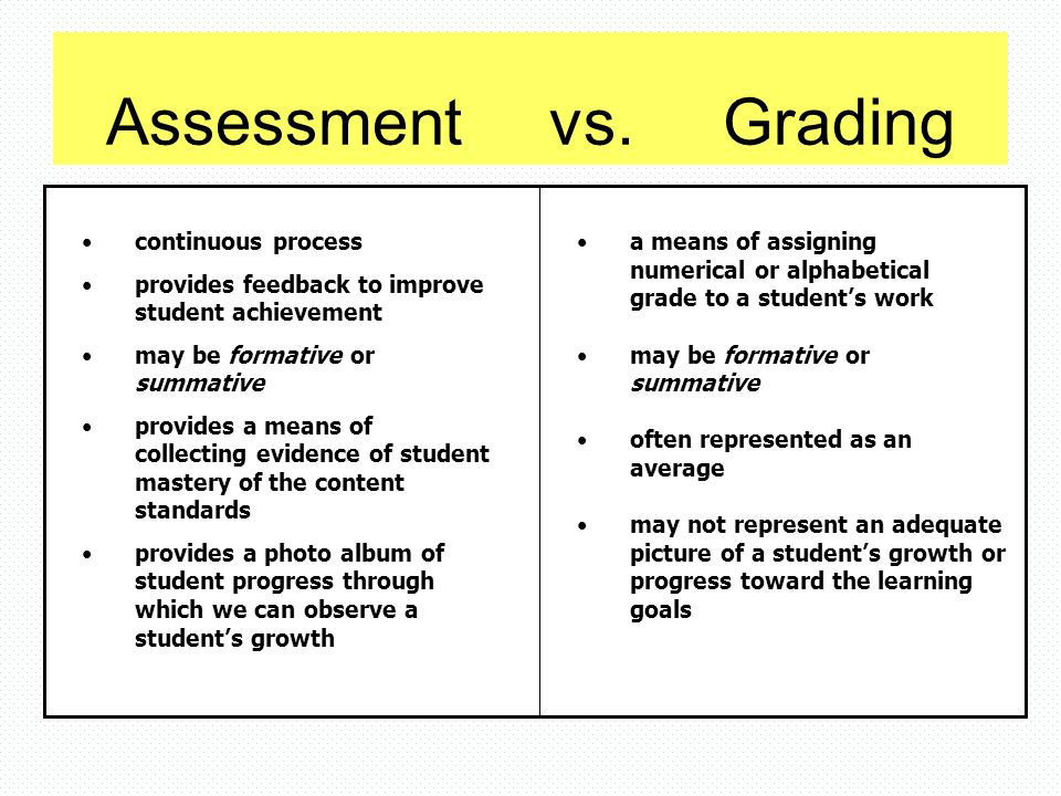 Assessment vs. Grading continuous process