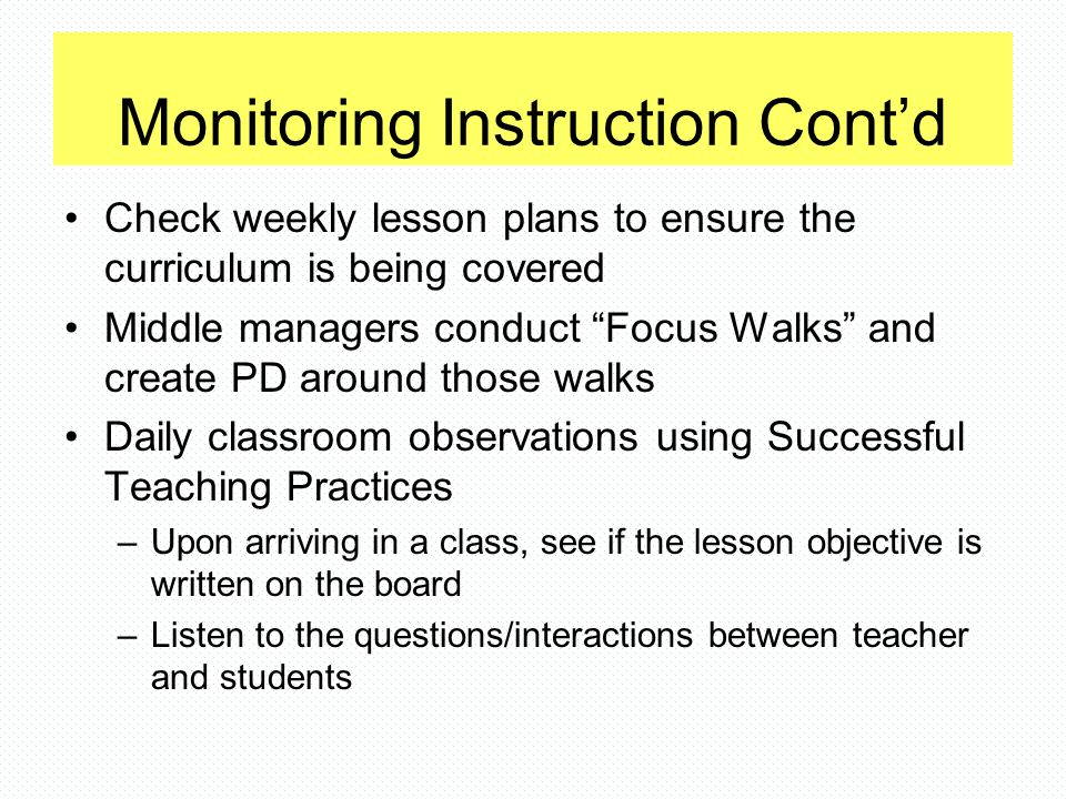 Monitoring Instruction Cont'd