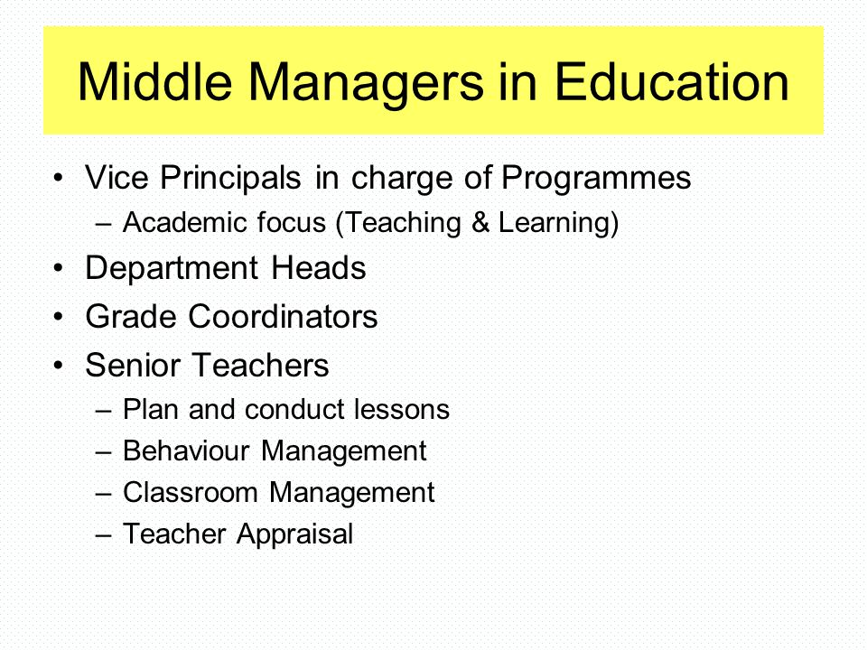 Middle Managers in Education