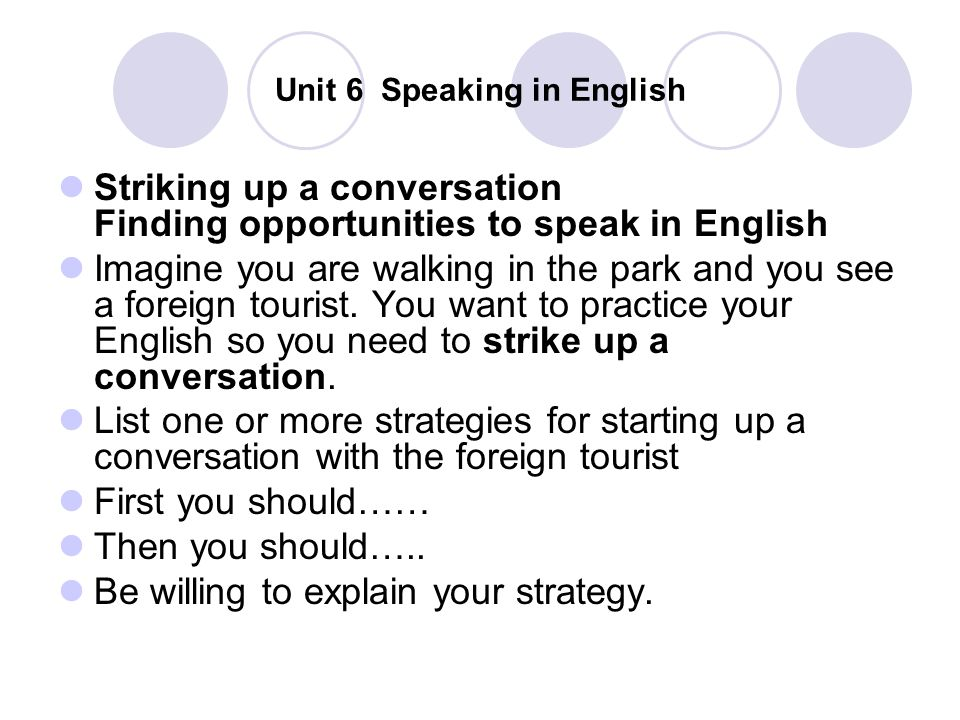 Unit 6 Speaking in English