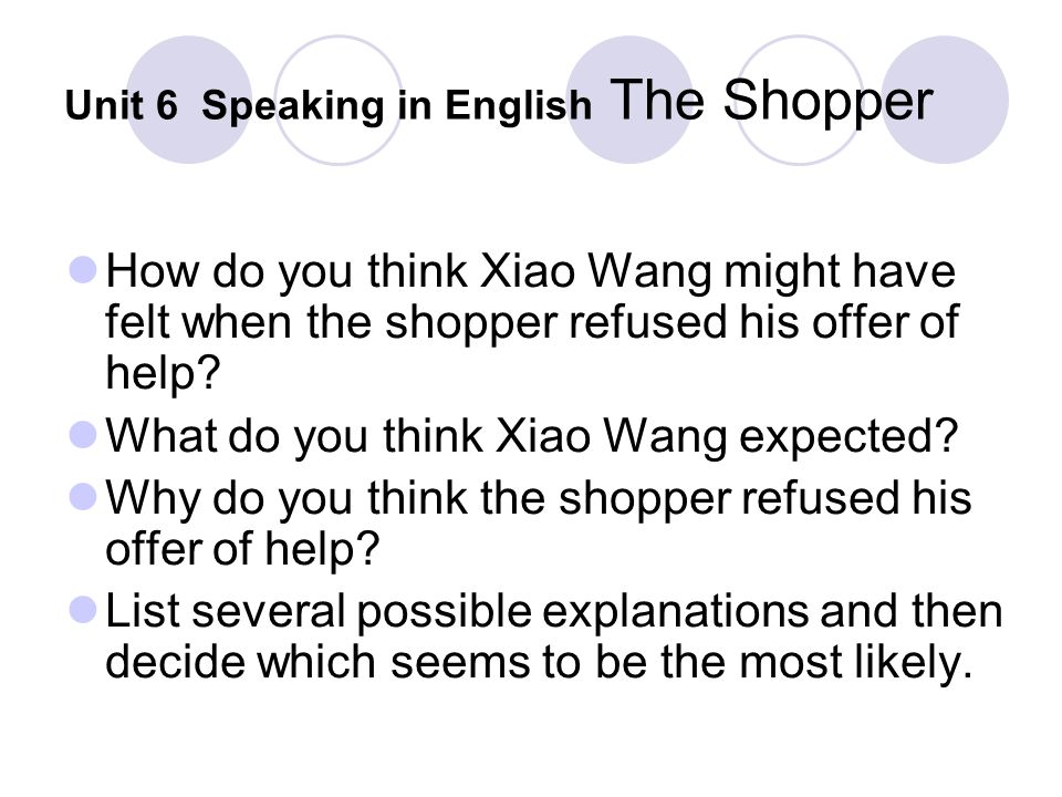 Unit 6 Speaking in English The Shopper