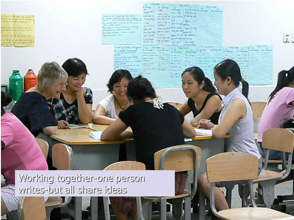 Working together-one person writes-but all share ideas