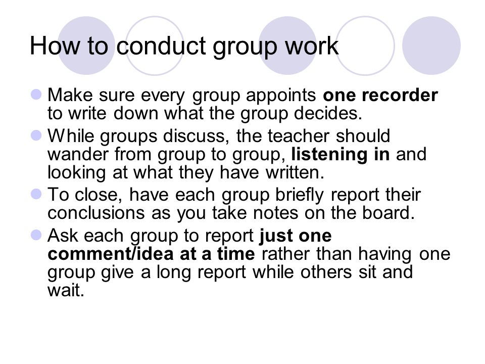 How to conduct group work