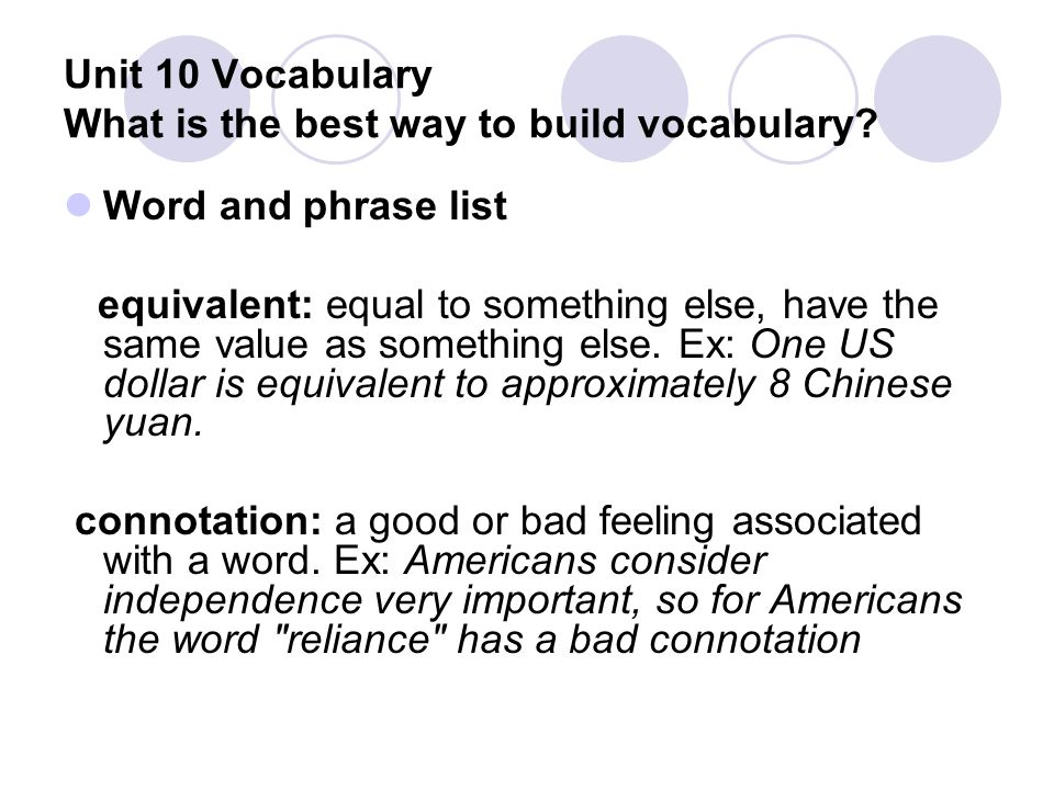 Unit 10 Vocabulary What is the best way to build vocabulary