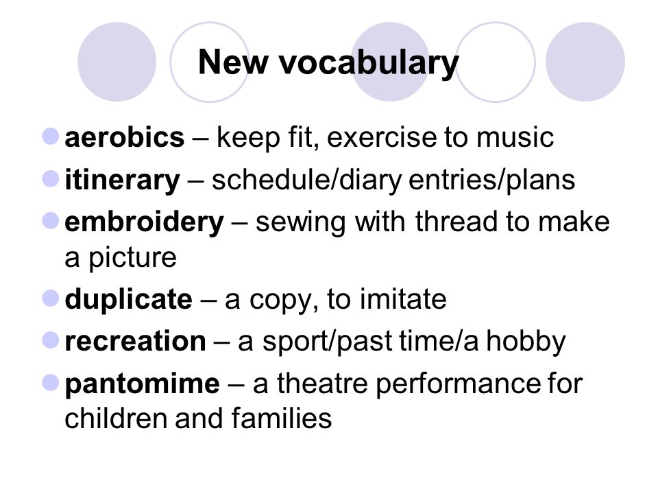 New vocabulary aerobics – keep fit, exercise to music