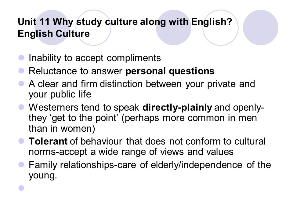 Unit 11 Why study culture along with English English Culture