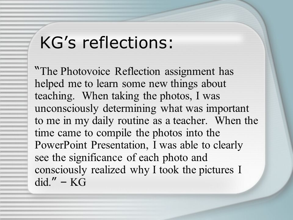 KG's reflections: