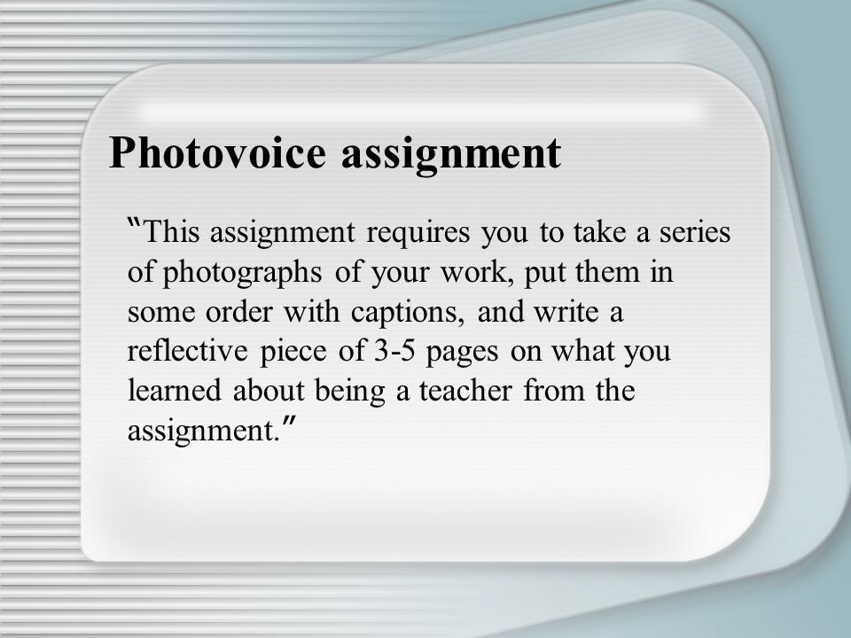 Photovoice assignment
