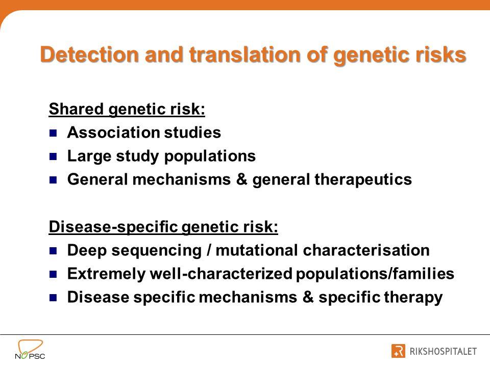 Detection and translation of genetic risks