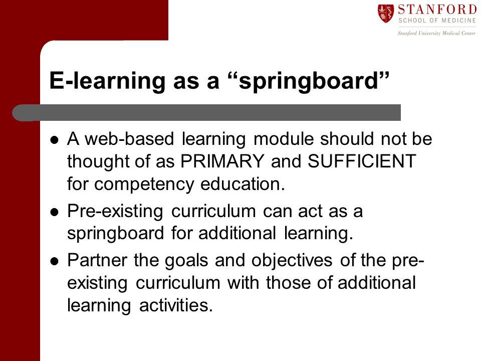 E-learning as a springboard
