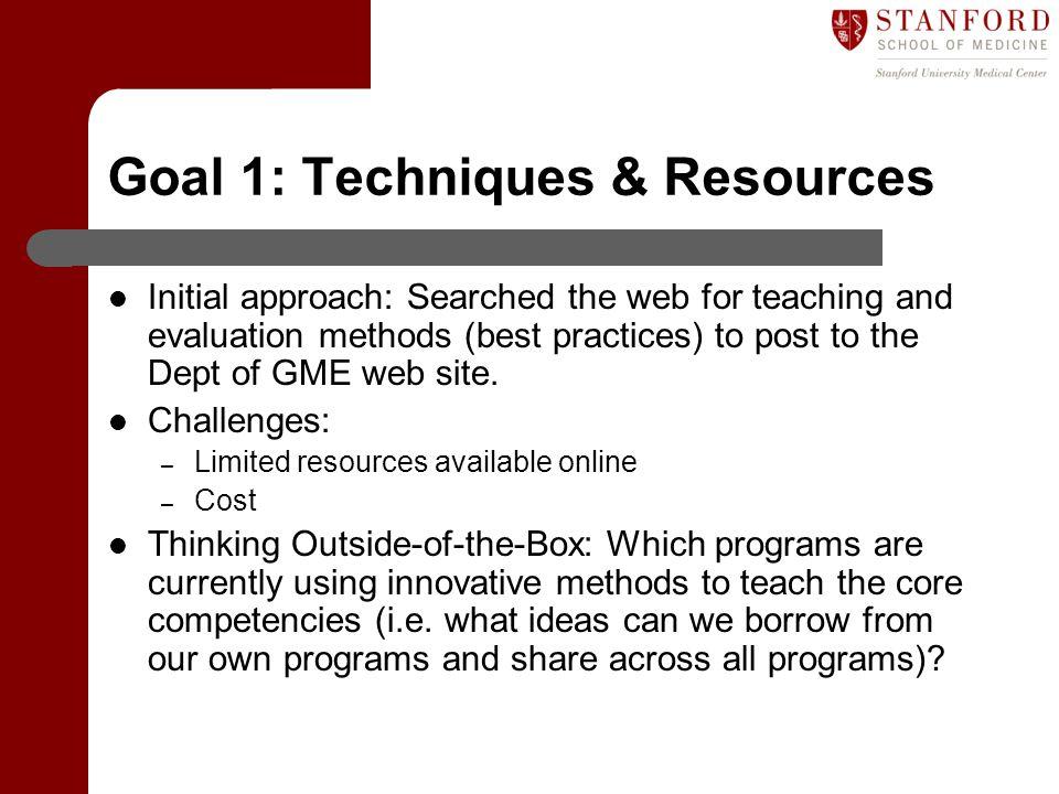 Goal 1: Techniques & Resources