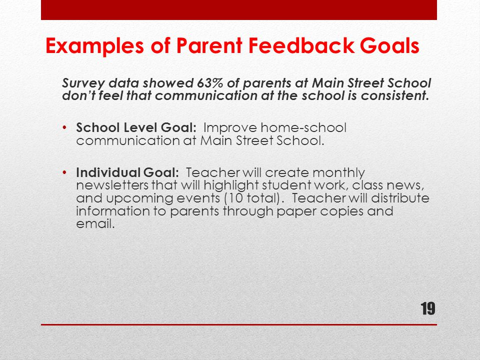 Examples of Parent Feedback Goals