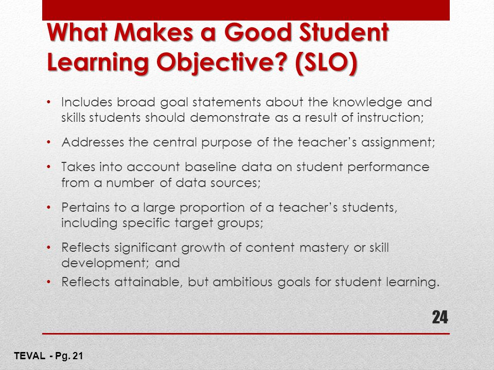 What Makes a Good Student Learning Objective (SLO)