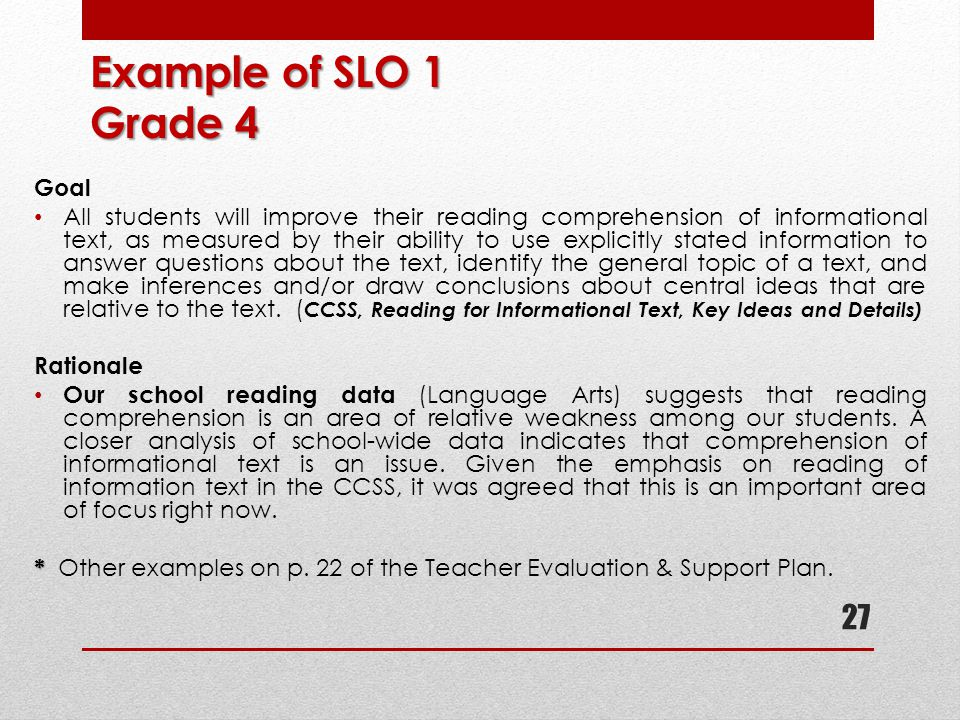 Example of SLO 1 Grade 4 Goal