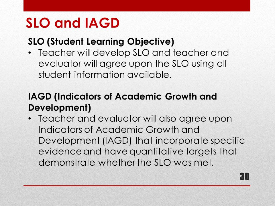 SLO and IAGD SLO (Student Learning Objective)