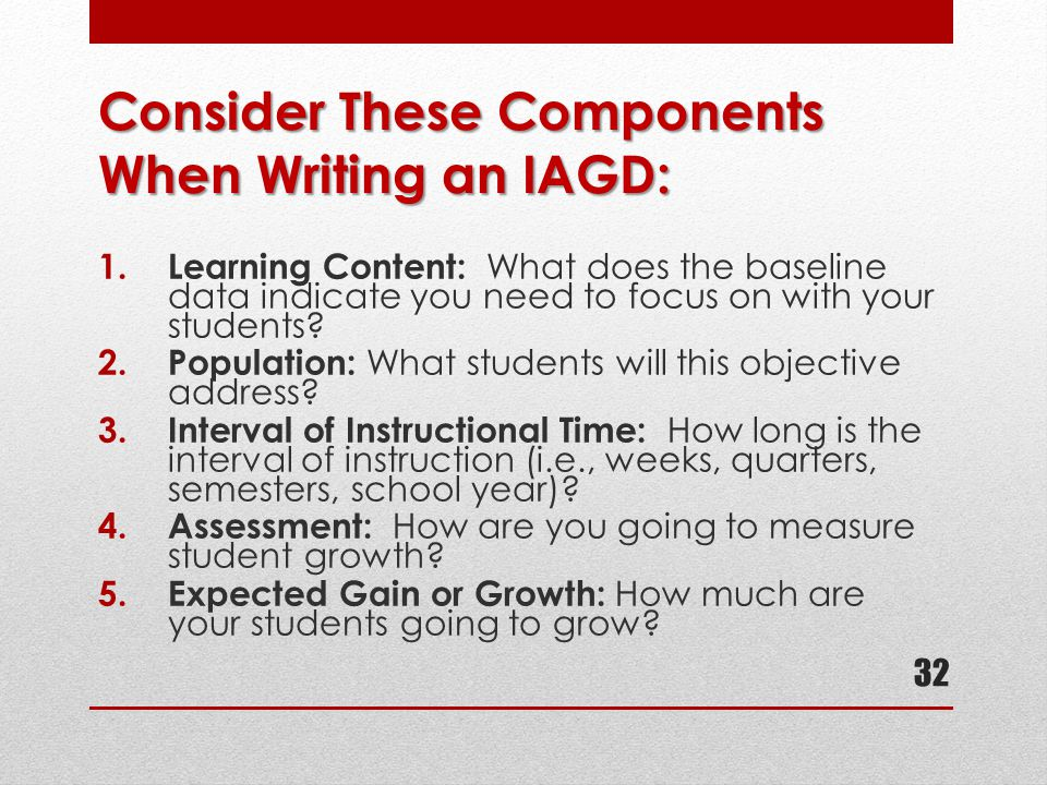 Consider These Components When Writing an IAGD: