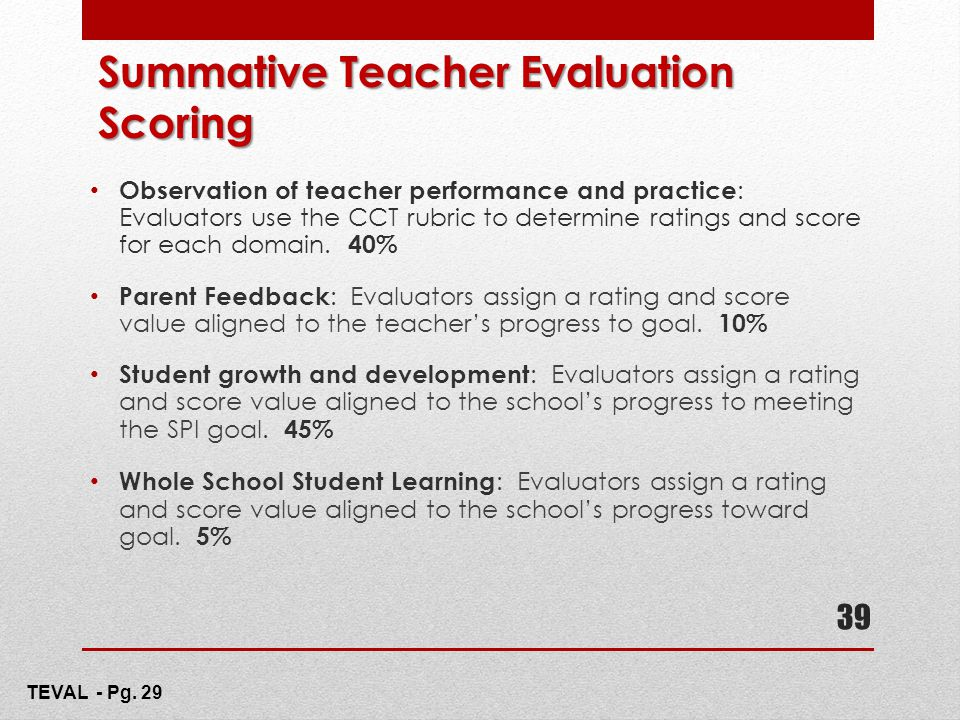 Summative Teacher Evaluation Scoring