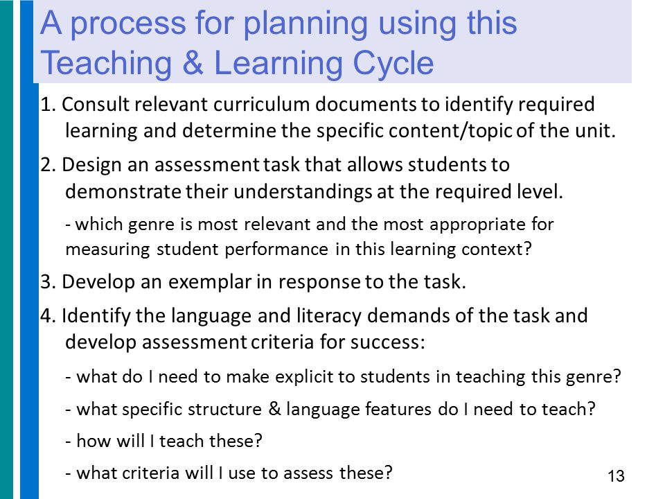 A process for planning using this Teaching & Learning Cycle