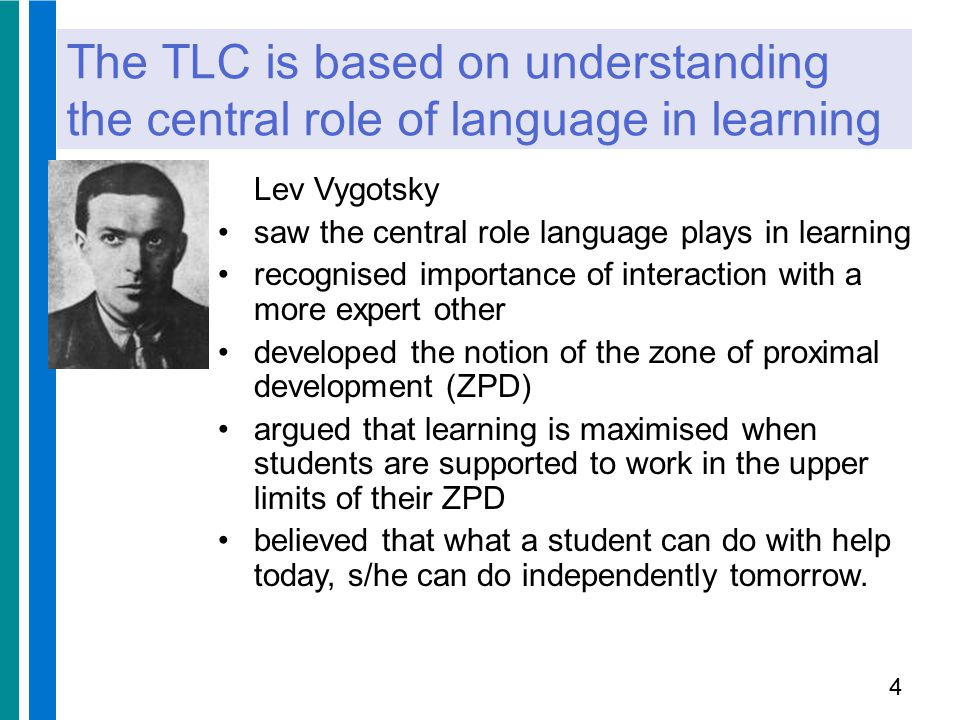 The TLC is based on understanding the central role of language in learning