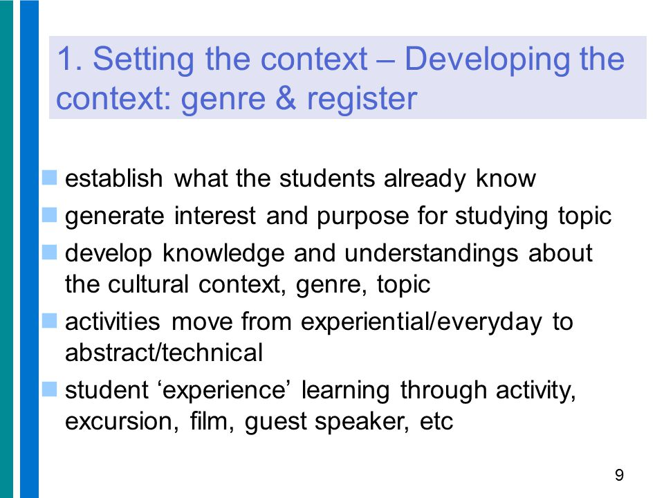 1. Setting the context – Developing the context: genre & register