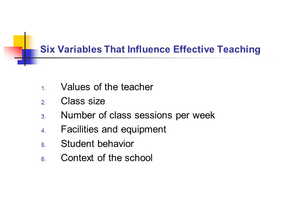 Six Variables That Influence Effective Teaching