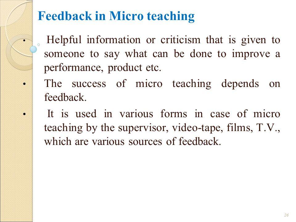 Feedback in Micro teaching