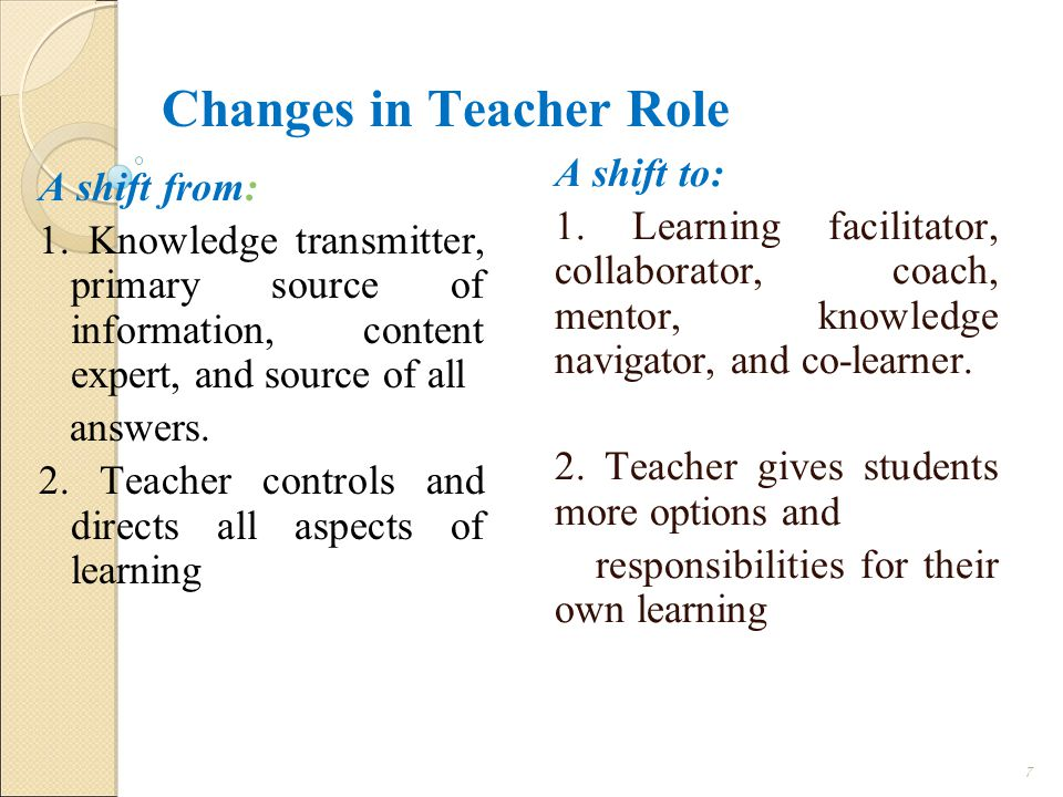 Changes in Teacher Role