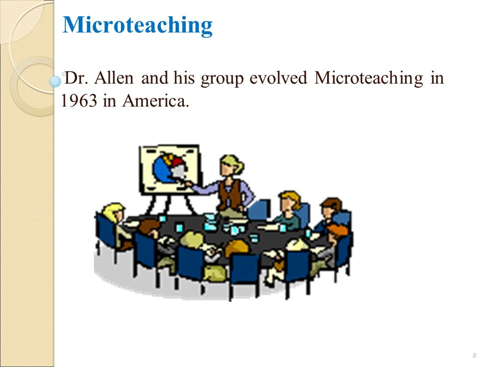 Dr. Allen and his group evolved Microteaching in 1963 in America.